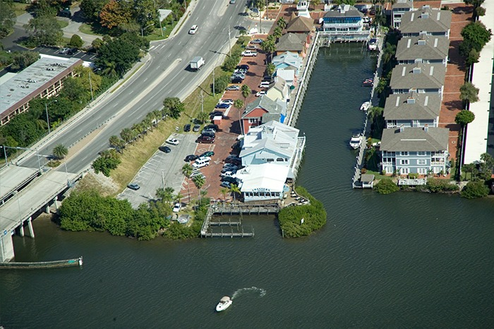 Aerial photo showing waterfront